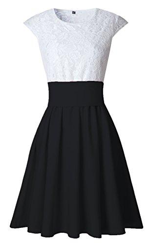 ECOWISH Sommerkleid Spitze Kleid Damen Cocktailkleid ...