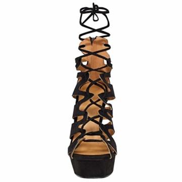 Fashion Thirsty Neu Womens Damen High Heels Plattform Gladiator Sandalen Schnür Stiefel Schuh Größe - Schwarz Kunstwildleder, 41 - 3