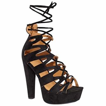 Fashion Thirsty Neu Womens Damen High Heels Plattform Gladiator Sandalen Schnür Stiefel Schuh Größe - Schwarz Kunstwildleder, 41 - 1