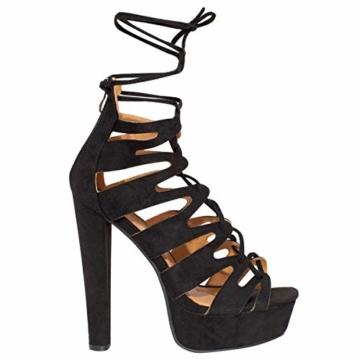 Fashion Thirsty Neu Womens Damen High Heels Plattform Gladiator Sandalen Schnür Stiefel Schuh Größe - Schwarz Kunstwildleder, 41 - 5