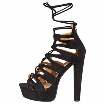 Fashion Thirsty Neu Womens Damen High Heels Plattform Gladiator Sandalen Schnür Stiefel Schuh Größe - Schwarz Kunstwildleder, 41 - 6