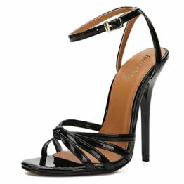 fereshte Unisex Herren Damen Corss Strap Ankle Buckle Stiletto High Heels Sandalen, Schwarz - Schwarz - Größe: 46 EU - 1