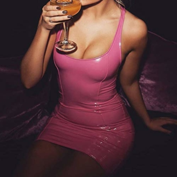 Juleya Damen PU Lederkleider Sexy Partykleid Ärmellos Rückenfrei Schlinge Weste Kleid Bodycon Kurz Minikleid Glänzendes Leder Wetlook Kleider Cocktailkleid - 2