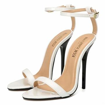 Maiernise Jessi Unisex-Stiletto für Herren und Damen, offener Zehenbereich, Knöchelriemen, High Heels, Kleid-Sandalen, - Lackweiß - Größe: 48 EU - 2