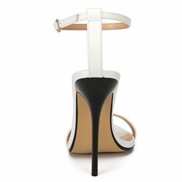 Maiernise Jessi Unisex-Stiletto für Herren und Damen, offener Zehenbereich, Knöchelriemen, High Heels, Kleid-Sandalen, - Lackweiß - Größe: 48 EU - 3