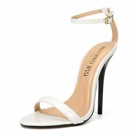 Maiernise Jessi Unisex-Stiletto für Herren und Damen, offener Zehenbereich, Knöchelriemen, High Heels, Kleid-Sandalen, - Lackweiß - Größe: 48 EU - 1
