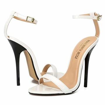 Maiernise Jessi Unisex-Stiletto für Herren und Damen, offener Zehenbereich, Knöchelriemen, High Heels, Kleid-Sandalen, - Lackweiß - Größe: 48 EU - 4