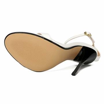 Maiernise Jessi Unisex-Stiletto für Herren und Damen, offener Zehenbereich, Knöchelriemen, High Heels, Kleid-Sandalen, - Lackweiß - Größe: 48 EU - 5