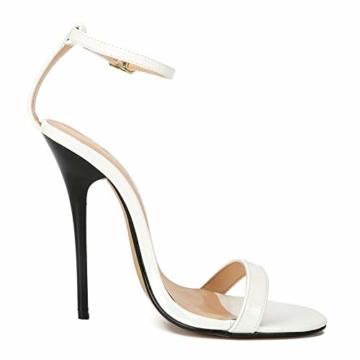 Maiernise Jessi Unisex-Stiletto für Herren und Damen, offener Zehenbereich, Knöchelriemen, High Heels, Kleid-Sandalen, - Lackweiß - Größe: 48 EU - 6