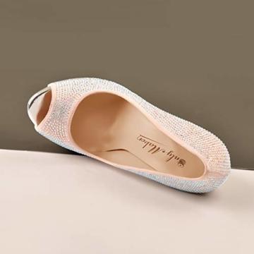 Only maker Damen Stiletto Pumps Peeptoe High Heels Elegante Damenschuhe mit Strass Glitter 44 EU - 2