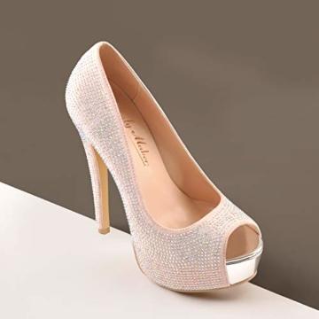 Only maker Damen Stiletto Pumps Peeptoe High Heels Elegante Damenschuhe mit Strass Glitter 44 EU - 3