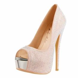Only maker Damen Stiletto Pumps Peeptoe High Heels Elegante Damenschuhe mit Strass Glitter 44 EU - 1