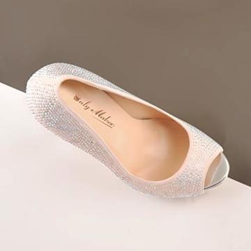 Only maker Damen Stiletto Pumps Peeptoe High Heels Elegante Damenschuhe mit Strass Glitter 44 EU - 4