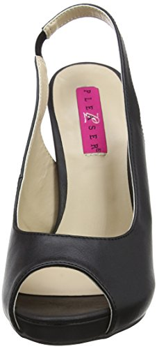 Pleaser Pink Label Damen Eve-04 Slingback Sandalen, Schwarz (Blk Faux Leather), 45 EU - 3
