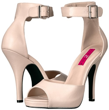 Pleaser Pink Label Eve-02, Damen Plateau, Beige (Cream Faux Leather), 46 EU (13 UK) - 6